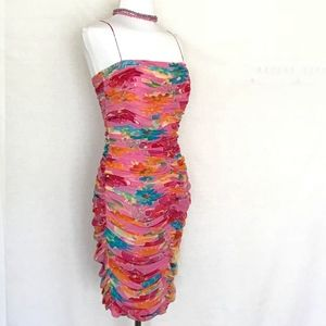 David Meister Dresses - David Meister Ruched Silk Cocktail Dress
